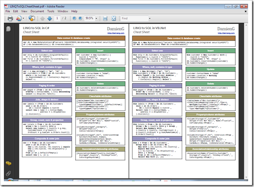 Linq To Sql Cheat Sheet In Both C And Vb Greg S Cool